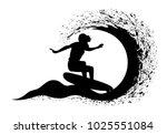 surfer in motion on the ocean... | Shutterstock .eps vector #1025551084