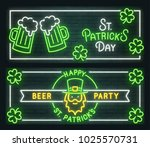 st. patrick's day neon sign.... | Shutterstock .eps vector #1025570731