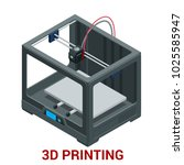 new generation of 3d printing... | Shutterstock .eps vector #1025585947