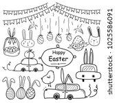 line hand drawn doodle happy... | Shutterstock .eps vector #1025586091