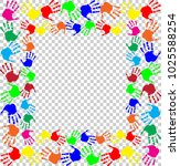 bright rainbow frame with empty ... | Shutterstock .eps vector #1025588254