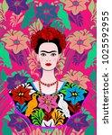 frida kahlo vector portrait  ... | Shutterstock .eps vector #1025592955