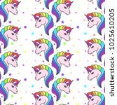 seamless pattern with unicorns | Shutterstock .eps vector #1025610205