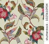 dark enchanted vintage flowers... | Shutterstock .eps vector #1025610934