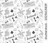 ireland sketch doodles seamless ... | Shutterstock .eps vector #1025615839