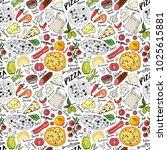 pizza seamless pattern hand... | Shutterstock .eps vector #1025615881