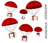 3d presents and parachute... | Shutterstock . vector #102561599