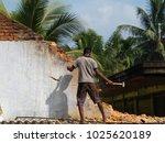 old brick wall demolishing by...   Shutterstock . vector #1025620189