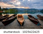 traditional wooden boats pletna ...   Shutterstock . vector #1025622625