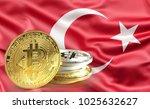 bitcoin coins on turkish flag ... | Shutterstock . vector #1025632627