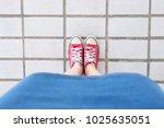 selfie of sneakers. woman... | Shutterstock . vector #1025635051