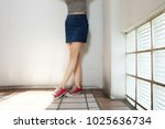 red sneakers of free space.... | Shutterstock . vector #1025636734