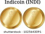set of physical golden coin... | Shutterstock .eps vector #1025643091