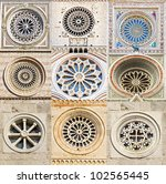 Collage of rose window.
