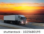 white truck on road container ... | Shutterstock . vector #1025680195
