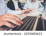 business team meeting working... | Shutterstock . vector #1025683621