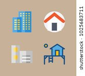 icons real estate with building ... | Shutterstock .eps vector #1025683711
