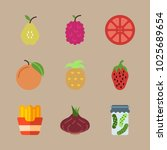 icons fruits and vegetables... | Shutterstock .eps vector #1025689654