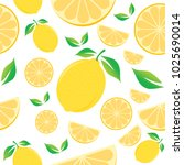 lemon seamless pattern on white ... | Shutterstock .eps vector #1025690014