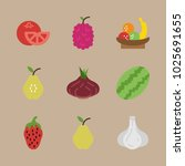 icons fruits and vegetables... | Shutterstock .eps vector #1025691655