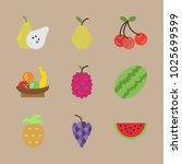 icons fruits with fruits ... | Shutterstock .eps vector #1025699599