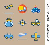 icons transport with airplane ... | Shutterstock .eps vector #1025701195