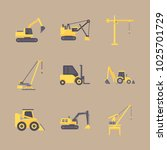icons construction machinery... | Shutterstock .eps vector #1025701729