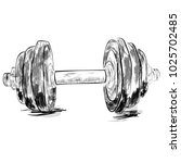 simple sketch of dumbbell  with ... | Shutterstock .eps vector #1025702485