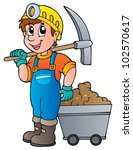 miner with pickaxe and cart  ... | Shutterstock .eps vector #102570617
