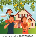 happy family having fun.... | Shutterstock .eps vector #1025718265