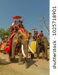 Small photo of Surin province/Thailand - February 14, 2018 :28 Couple riding elephant in wedding registration ceremony on elephant at Elephant Study Center, Talkang village, Kra-po sub district, Thatoom district