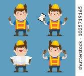 cute male construction worker 4 ...   Shutterstock .eps vector #1025719165