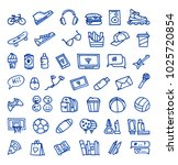 set of 44 teenager's stuff hand ...   Shutterstock .eps vector #1025720854