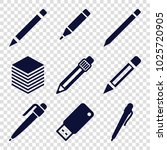 pen icons. set of 9 editable... | Shutterstock .eps vector #1025720905