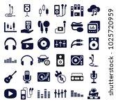 audio icons. set of 36 editable ... | Shutterstock .eps vector #1025720959
