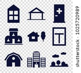 exterior icons. set of 9... | Shutterstock .eps vector #1025720989