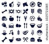 eat icons. set of 36 editable... | Shutterstock .eps vector #1025721085