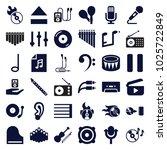 music icons. set of 36 editable ... | Shutterstock .eps vector #1025722849