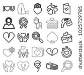 heart icons. set of 25 editable ... | Shutterstock .eps vector #1025729785