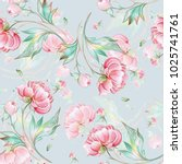 seamless peony pattern with... | Shutterstock . vector #1025741761