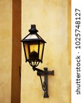 old metal streetlamp with... | Shutterstock . vector #1025748127