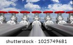 row of industrial pipelines and ...   Shutterstock . vector #1025749681