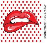Biting her red lips teeth pop art | Shutterstock vector #102576569