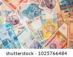 colorful old world paper money... | Shutterstock . vector #1025766484