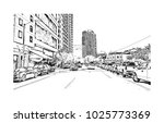 downtown with road and building ... | Shutterstock .eps vector #1025773369