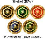 set of physical golden coin... | Shutterstock .eps vector #1025782069