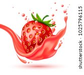 red strawberry slice juice... | Shutterstock .eps vector #1025796115