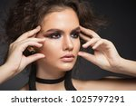 beautiful girl with make up and ... | Shutterstock . vector #1025797291