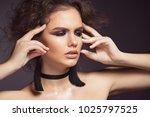 beautiful girl with makeup ... | Shutterstock . vector #1025797525
