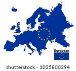 european flag map on a white... | Shutterstock .eps vector #1025800294